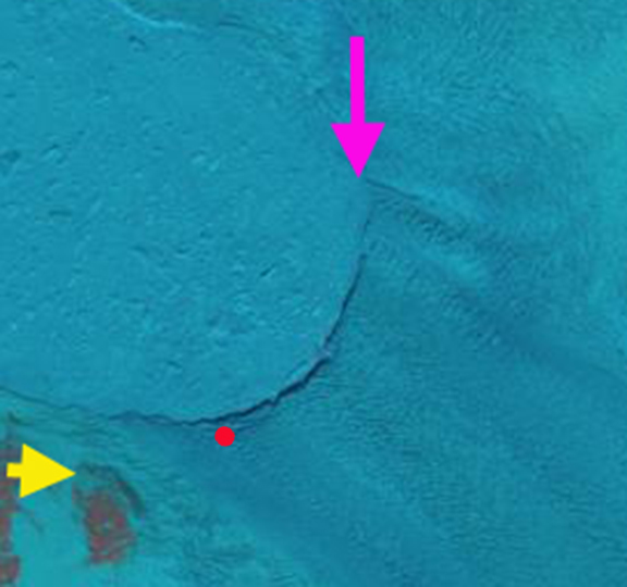 June 1 Pink arrow indicates a prominent lateral rift.  Yellow arrow reference location. Red dot an existing  transverse rift.