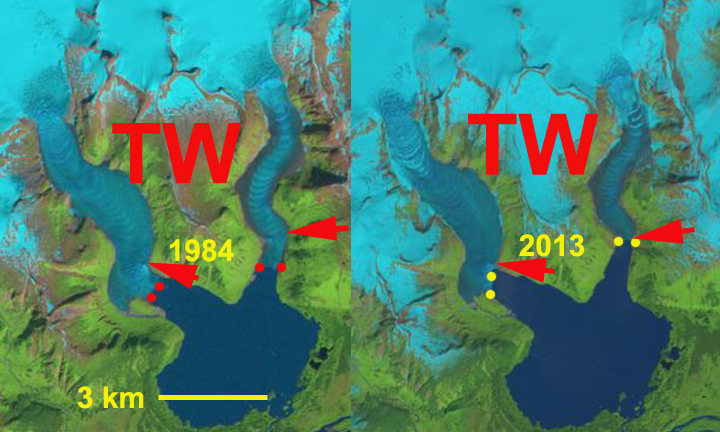 twin glacier change