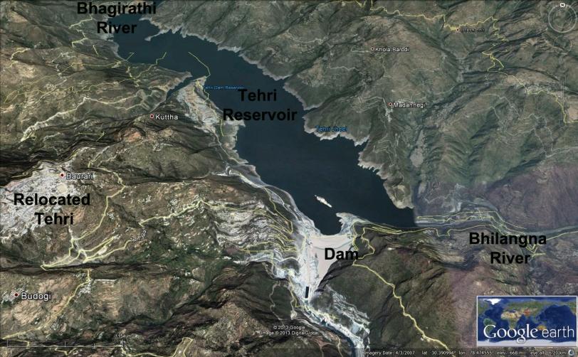 tehri dam map 2007
