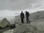 Stewart Willis and Ben Pelto surveying Columbia Glacier terminus