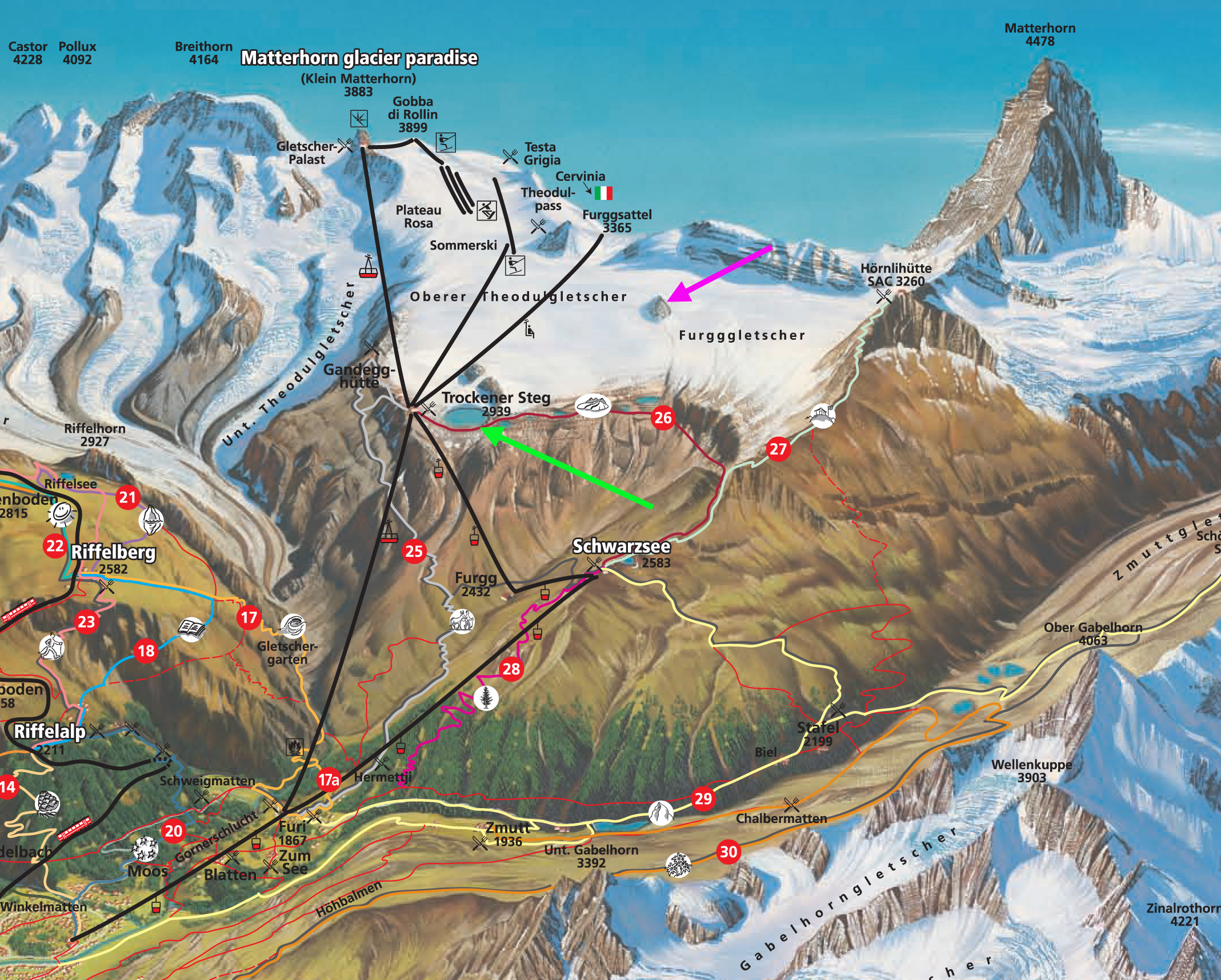 Theodulgletscher Retreat Zermatt Ski area Swizerland From a