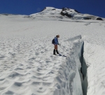 Measuring snow depth in crevasse
