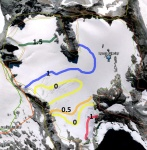 Lynch Glacier mass balance map in meters of water equivalent