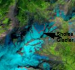 Landsat image of Sholes Glacier 9/12/2013 with the red dots indicating the snowline separating blue ice from snowcover.