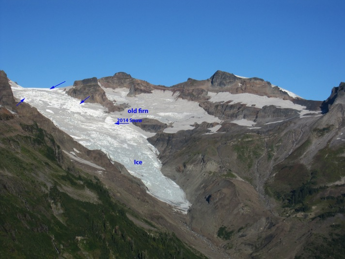 Tom Hammond Image adusted to show firn, ice and retained snow. Sept. 27th