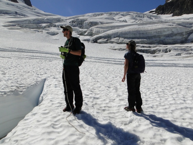 Limited snowpack below the main icefall at 1750 m on Aug. 10.