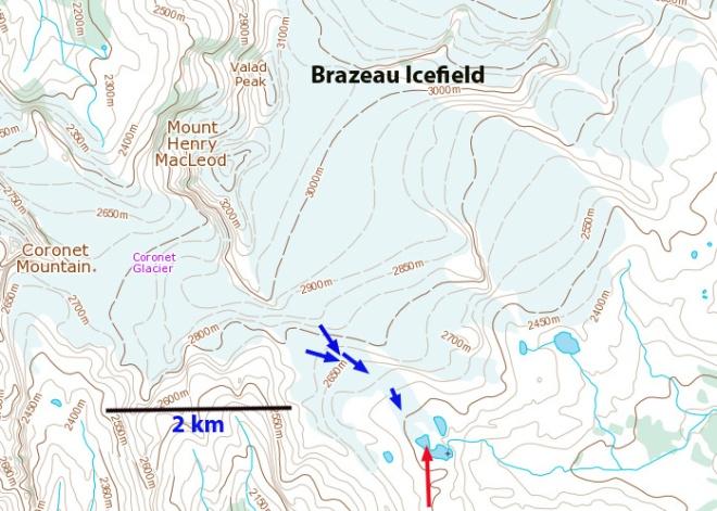 brazeau Icefield map