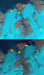 Tasija and Krayniy Glacier, Novaya Zemlya